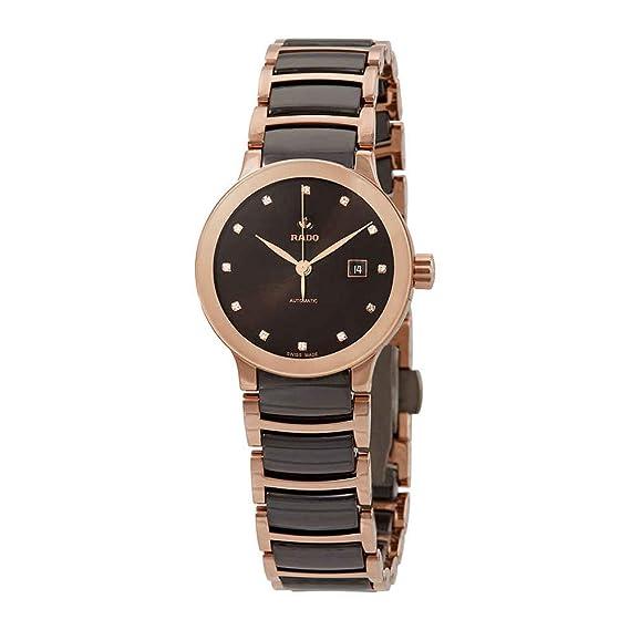Rado Centrix R30183752 - Reloj de pulsera automático con esfera de diamante marrón, para mujer: Amazon.es: Relojes