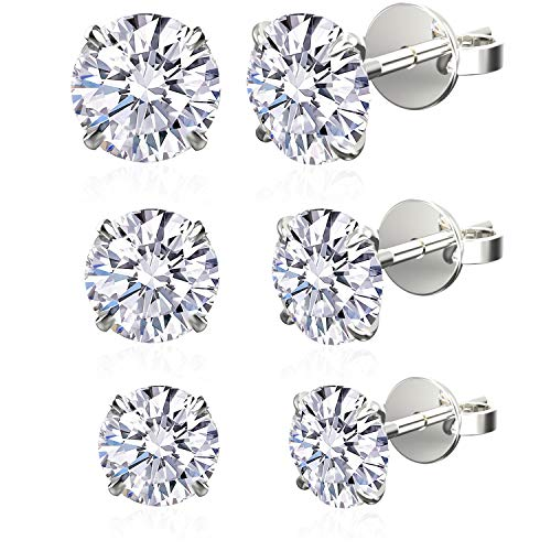 2cce4231f Jewelry For Life Set of 3 Pairs .925 Sterling Silver Cubic Zirconia Stud  Earrings,