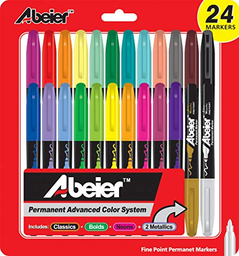 - Permanent Markers Fine Point,Assorted Colors, 24-count,Multi Color (Set of 24).
