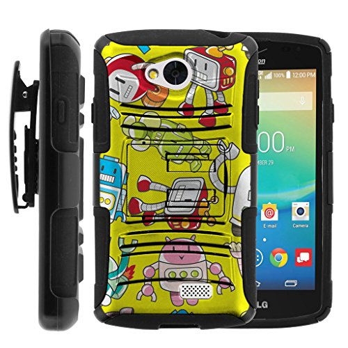 TurtleArmor | Compatible for LG Tribute Case | LG Optimus F60 | LG Transpyre [Hyper Shock] Armor Rugged Solid Hybrid Case Stand Impact Rubber Belt Clip Robot Android Design - Gizmo Robots by TurtleArmor