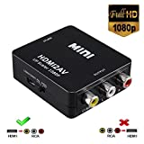 HDMI to RCA/AV Converter,VicTello Full 1080P HDMI to CVBS 3RCA Composite Video Audio Converter Supports PAL/NTSC with USB Charge Cable for PC Laptop HDTV DVD Game Console