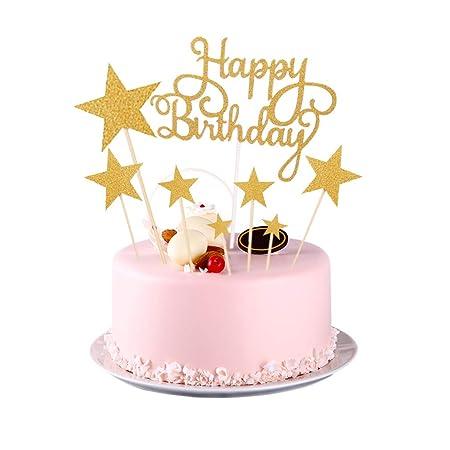 Dsaren 8 Piezas Topper Pastel Cumpleaños Glitter Estrellas ...