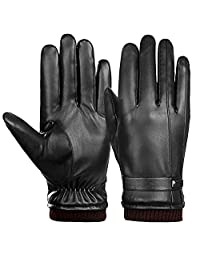 Men Driving Gloves Ulstar Touchscreen Leather Gloves Winter Warm Texting Gloves (Style2,Large, Black)