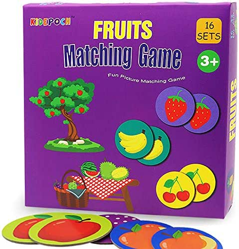 Memory Game with 16 Matching Pairs Featuring Fruit Element Non Toxic Preschool Educational Matching Game for Kids Toddlers 2 3 Year Old and Up