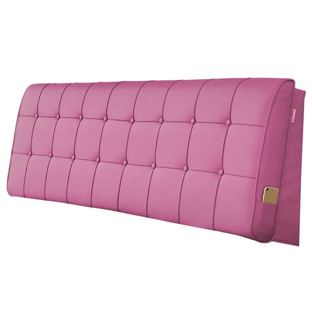 HFF Cuscino testiera Comodino in Finta Pelle Cuscino Letto Riposo Cuscino Letto Imbottito in Morbido Formato 5 (colore   rosa, Dimensioni   90  10  60cm)