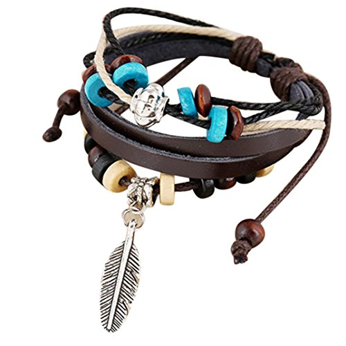 Clearance ! Yang-Yi Fashion Women Multilayer Handmade Wristband Leather Bracelet Bangle Chain (Brown, 17cm+4cm(Adjustable))