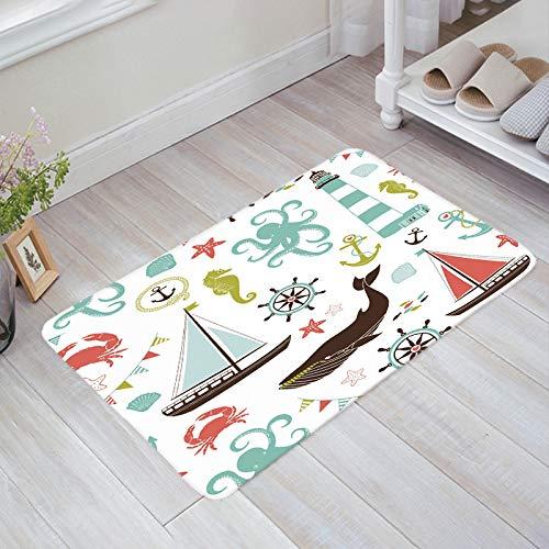 Homey Room Non-Slip Doormats Welcome Mats Mud Dirt Trapper Entrance Mats Rug Shoes Scraper for Floor/Indoor/Kitchen/Bedroom, Octopus Hippocampus Anchor Sailboat 18'' x 30''