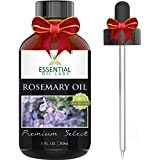 Rosemary Oil - Highest Quality with 1,8-cineole 30%, camphor 20% 1 Ounce Bottle with Glass Dropper - Premium Select by Essential Oil Labs