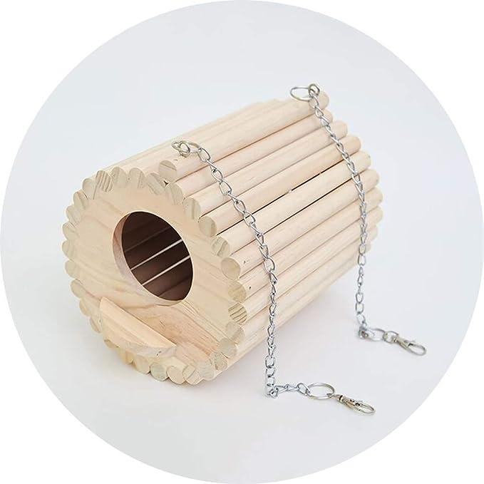 YCDJCS La Jaula de pájaro de Madera de Aves Incubadora Hamster Casa mordedura al Aire Libre de Aves casa se Puede Suministros Hung Mascotas Gallineros y jaulas (Color : Brown, Size : 16.5 * 20 cm)