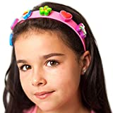 #5: Boppiband Headband Hairband with Collectible Fashion Accessory Pop & Swap Charms – Pink Band with 6 Charms – Rainbow, Lolly, Roller-skate, Flower, Heart, Butterfly