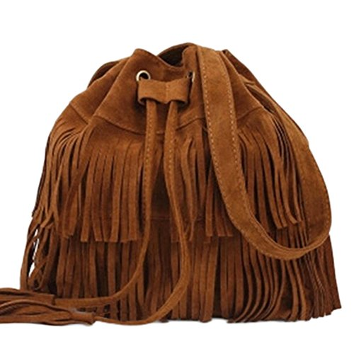Shoulder Bag, Womens Faux Suede Fringe Tassels Cross-body Shoulder Bag/Bucket Bag, Black/Brown/ Khaki(Brown) brown