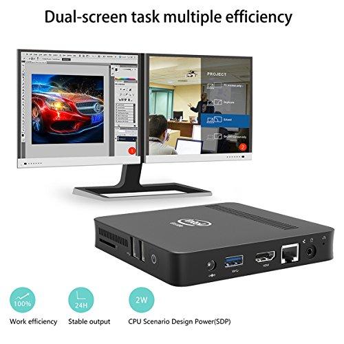 Z83-W Fanless Mini PC Desktop, Windows 10 64-bit Intel x5-Z8350 (Up To 1.92 GHz) HD Graphics, DDR3L 2GB/ 32GB eMMC/ 4K/ 1000M LAN/ 2.4/5.8GHz WiFi/ BT 4.0 [Dual Output - VGA/HDMI] by Plater (Image #2)