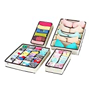 Amazon Lightning Deal 96% claimed: MIU COLOR Drawer Dividers Closet Organizers for Bra Socks Ties,Underwear Storage Boxes Divider 4 set
