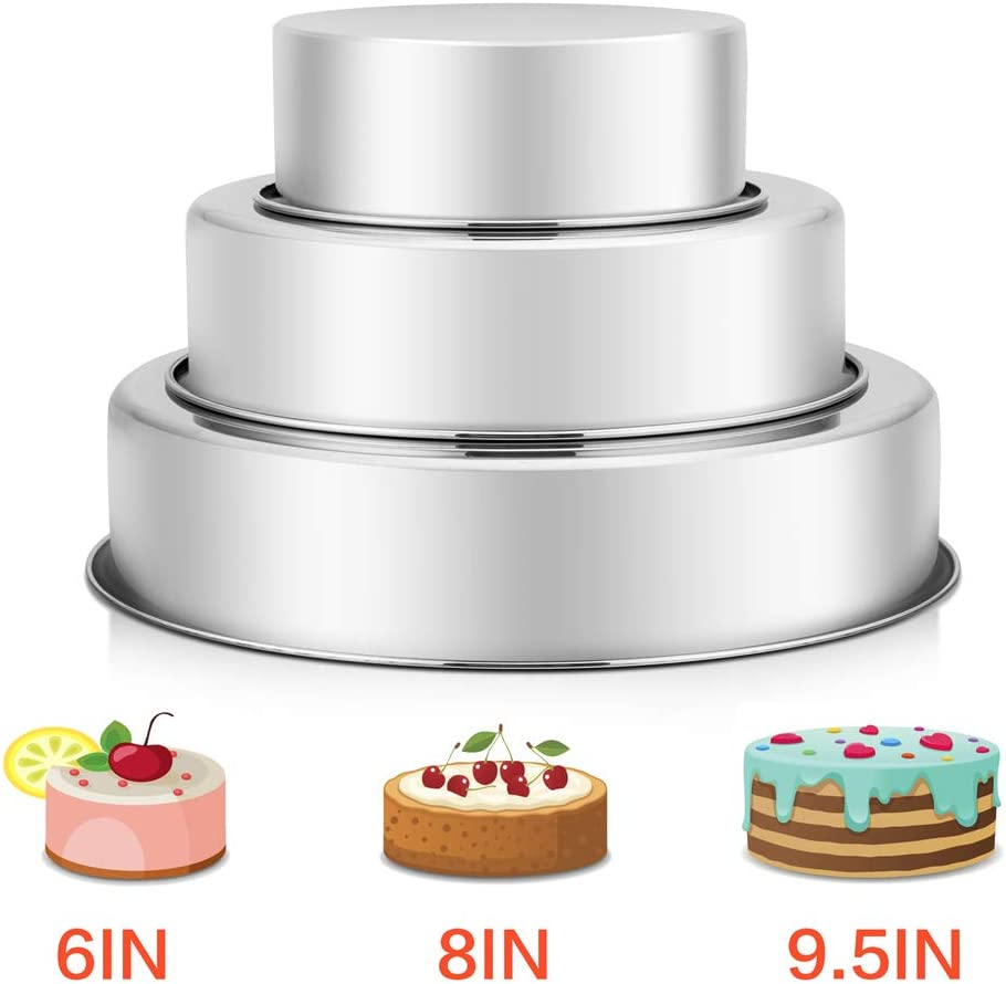 "Cake Pan Set - 6"" & 8"" & 9½"",P&P CHEF Stainless Steel Round Baking Pans, Oven Layer Bakeware for Birthday Weeding Cake, Non Toxic & Healthy, One-piece Molding & Leakproof, Mirror Finish & Easy Clean"