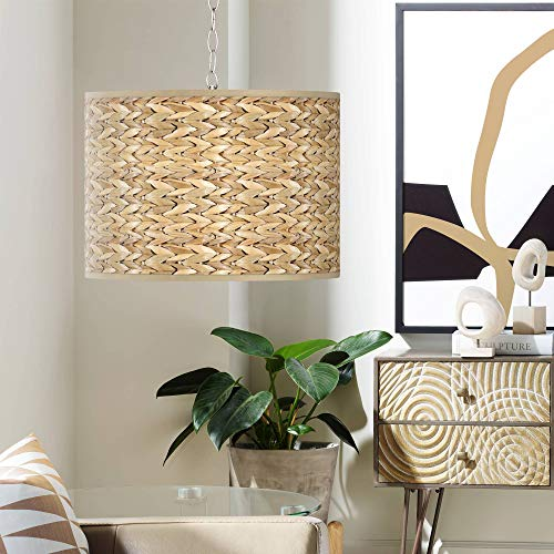 Pendant Lighting With Seagrass Shades in US - 2