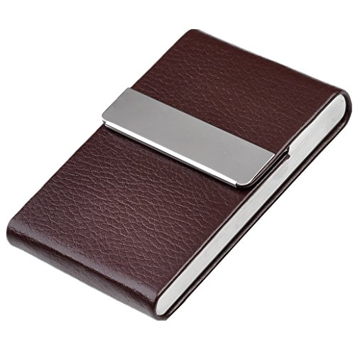 Leather Business Card Holder (Ayliss offer Personalized Engraving service Bussiness Card Holder Top Quality Stainless Steel Leather Magnetic Shut)