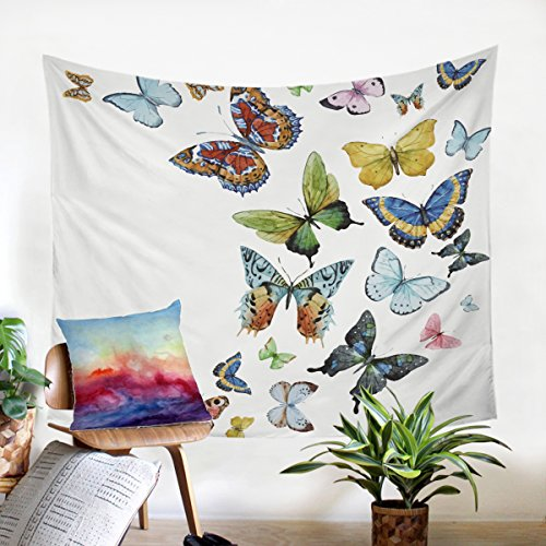 - Sleepwish Butterfly Tapestry Watercolor Flying Butterflies Wall Art Bedroom Living Room Dorm Wall Hanging Throw Tablecloth Bedspread (60