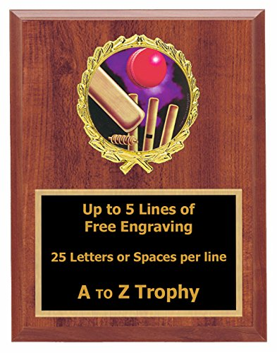 Cricket Plaque Awards 6x8 Wood Sports Trophy Tournament Trophies Free Engraving by Trophies