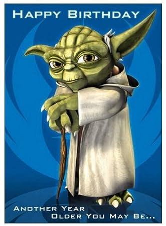 Star Wars Clone Wars Yoda Birthday Card Sound Card Amazon Co Uk