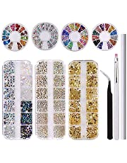 Makartt 3200 PCS Rhinestones Nail Art Kit, 3D Crystals for Nails, Gold Various Gems, Pick up Tweezers, Wax Pencil, Nail Brush, S-08