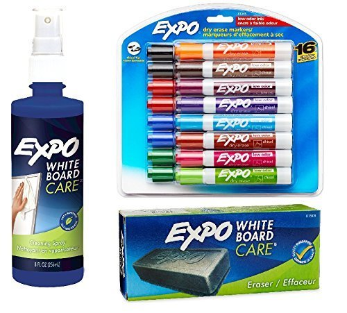 Expo 2 Low-Odor Dry Erase Markers, Chisel Tip, 16-Pack,