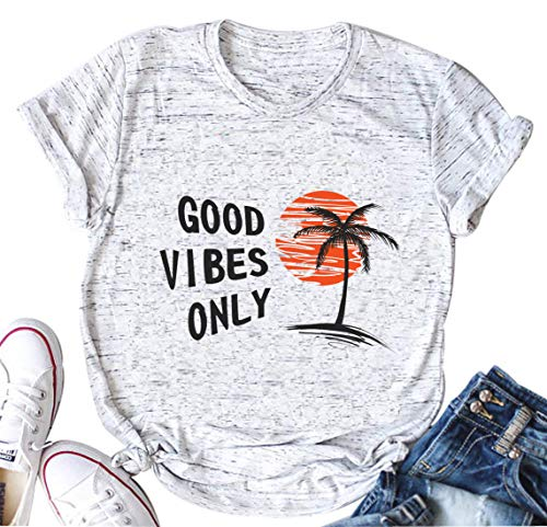 Good Vibes Only T-Shirt Women Cute Casual Letter Print Shirt Short Sleeve Tee Tops Blouse (XX-Large, White) -