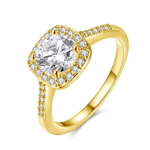 Eternity Love Women's 18K Rose/White/KC Gold Plated CZ Crystal Engagement Rings Best Promise Rings Anniversary Wedding Bands for Lady Girl, JAR002-9-KC ()