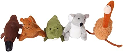 Pack of 6 Puppets AUSTRALIAN ANIMAL Soft Material KANGAROO FINGER PUPPET
