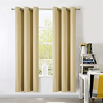 SUO AI TEXTILE Thermal Insulated Solid Blackout Panel Curtains For Bedroom  Each 37x84 Inch (2