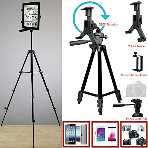 ChargerCity XL Smartphone & Tablet Holder Photo Booth Camera Tripod Kit w/360° Rotation for Apple iPad Pro Air Mini iPhone XR XS MAX X 8 7 Plus Microsoft Surface Samsung -