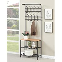 1PerfectChoice Hallway Entry Coat Rack, Hall Tree Coat, Hat, Hanger Storage Shelves, Metal, Black