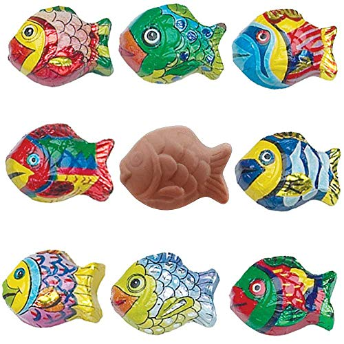 Solid Premium Milk Chocolate Mini Fish Wrapped in Italian Foil Featuring Exquisite Tropical Fish (1 LB)