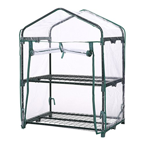 Finether 2-Tier Mini Greenhouse with Transparent Cover for Indoor Outdoor Herb Flower Garden Balcony, Portable, 27.2''W x 19.3''D x (Indoor Herb Greenhouse)