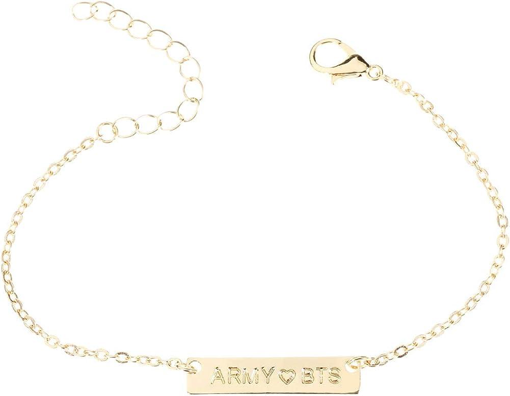 Bestomrogh Kpop BTS Army Lettres Lettrage Bracelet Collier Ensemble Vintage Chic Unisexe 3 Couleurs en Option