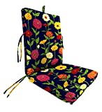 """Polyester Classic Large Club Chair Cushion With Ties, 44"""" x 22"""" with hinge 22"""" from bottom, in Zinnia"""