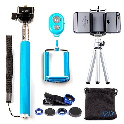 32 opinioni per JZK® Monopiede bastone selfie + treppiede + telecomando + 3-in-1 kit lenti