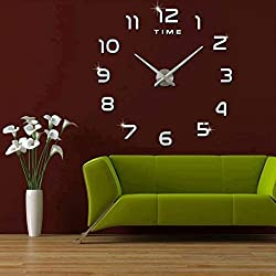 fanyuanfds Frameless Large 3D DIY Wall Clock Mute Mirror Stickers Decoration Living Room Decor Silver 2-Year Warranty