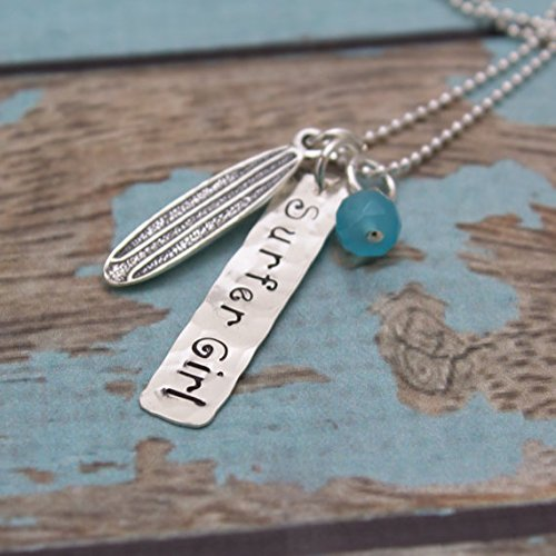 Surfer Girl Necklace Surfer Jewelry Surfboard Necklace Personalized Hand Stamped Sterling Silver Necklace