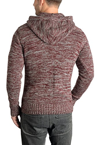 Homme Tricot 8985 Pull Coton Wine En solid 100 over Capuche À Maille Pluto Red Pour Melange Grosse Pull 0wTPqz