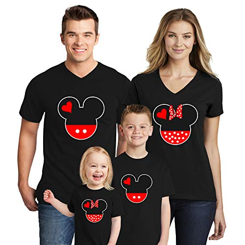 Natural Underwear Family Trip # 1 Mickey Mouse Minnie Mouse Head and Ears Family Trip 2019 T-Shirts Kids Boys Matching V Neck T Shirts Women Black XX-Large