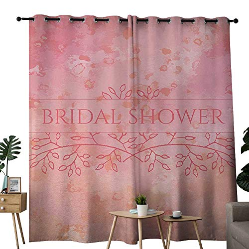 NUOMANAN Kitchen Curtains Bridal Shower,Bride Invitation Grunge Abstract Backdrop Floral Design Print,Light Pink and Salmon,Rod Pocket Drapes Thermal Insulated Panels Home décor -