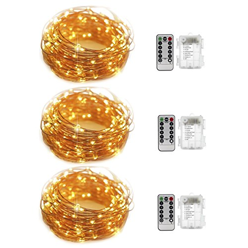 ThyWay 3 Set/Pack Fairy String Lights Remote Control Battery Operated Waterproof 8 Modes 50 LED 16.4FT Copper Wire Firefly Fairy String Light for Christmas,Thanksgiving,Wedding,Party Decor(Warm White