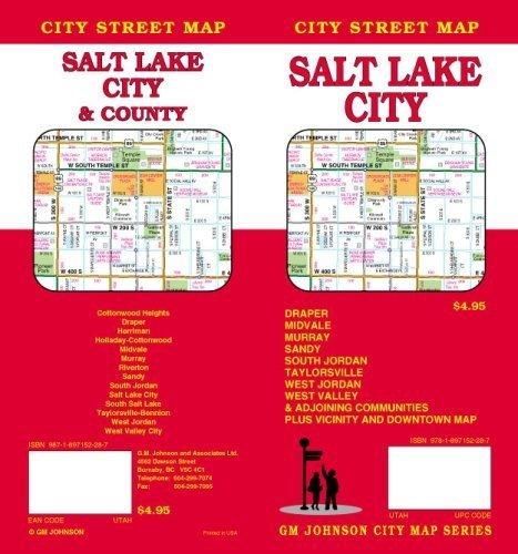 Salt Lake City, Utah Steet Map by GM Johnson & Associates Ltd. - Map Mall City Johnson