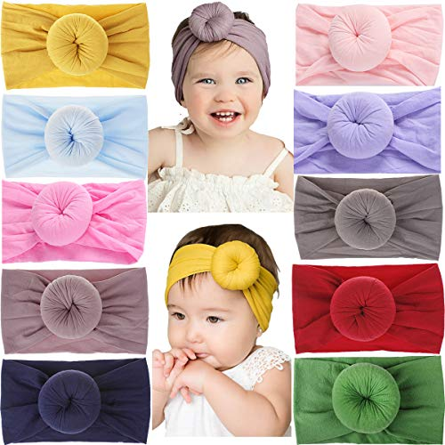 - 10Pcs Baby Headbands Turban Head Wrap Stretch Bow Soft Wide Nylon Hairband for Newborns Infants Toddlers