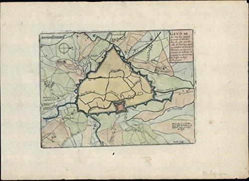 Ghent Map (Gand Ghent East Belgium Flemish c.1700 de Fer & Inselin engraved antique map)