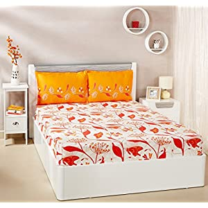Amazon Brand – Solimo Lily Bloom 144 TC 100% Cotton Double Bedsheet with 2 Pillow Covers, Brown
