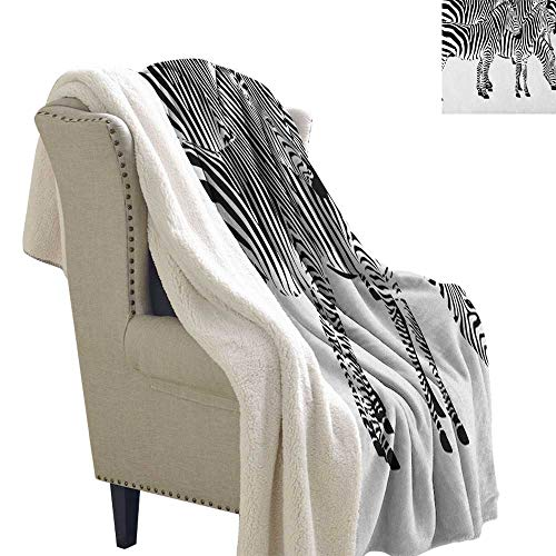 Suchashome Safari Super Soft Blanket for Coach Sofa,Bed Zebras African Animals Skin Print with Stripes Jungle Wildlife Picture Artwork Throw Blanket 60x78 Inch Black and White