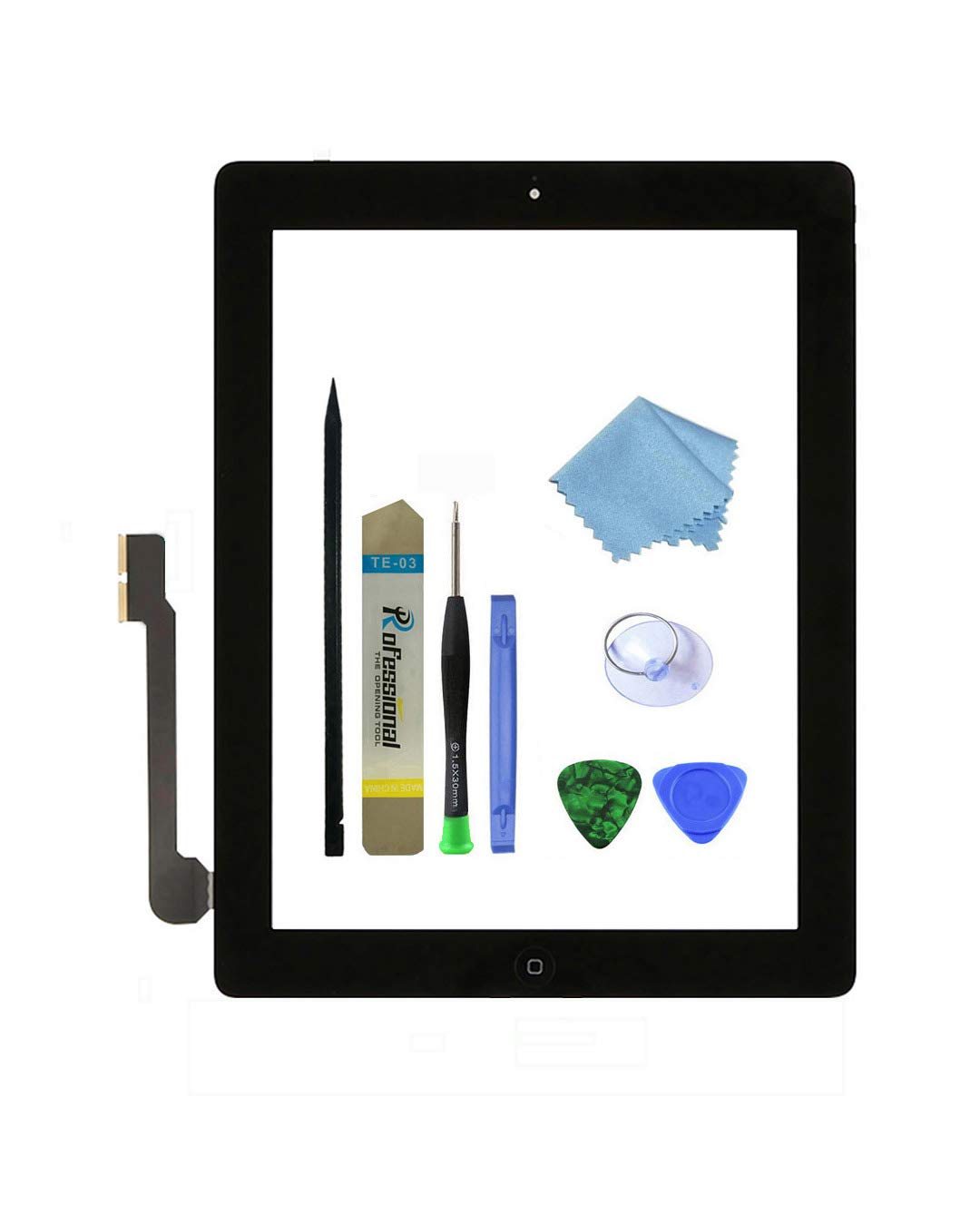 Zentop Touch Screen Digitizer replacement Assembly for Black iPad 3 Model A1403, A1416, A1430 whit Home Button, Camera Holder ,Preinstalled Adhesive,Frame Bezel, tool Kit. by Zentop