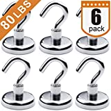 DIYMAG Heavy Duty Magnetic Hooks, Strong Neodymium Magnet Hook for Home, Kitchen, Workplace, Office and Garage, Hold up to 80 pounds,Pack of 6