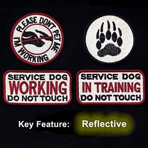TIMTAC 4 Pcs Reflective Service Dog in Training/Working/Please Don`t Pet me & Dog Paw Embroidered Hook & Loop Morale Patches
